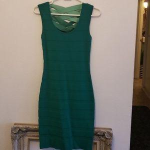 Tight green bandage dress